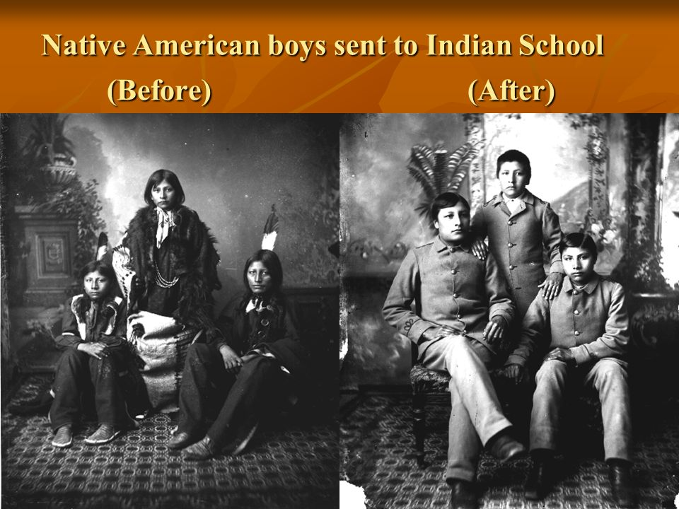 Native American boys sent to Indian School (Before) (After)