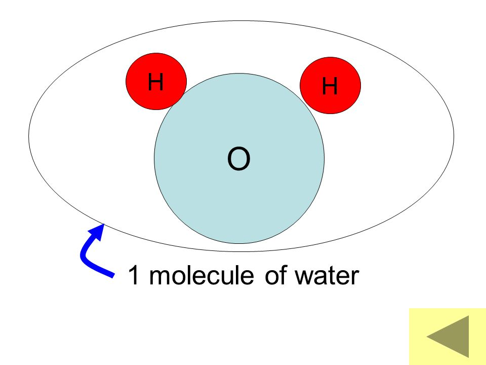 O H H 1 molecule of water