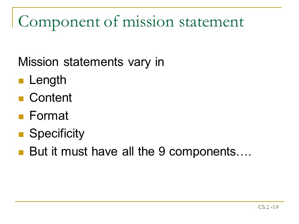 9 components of mission statement