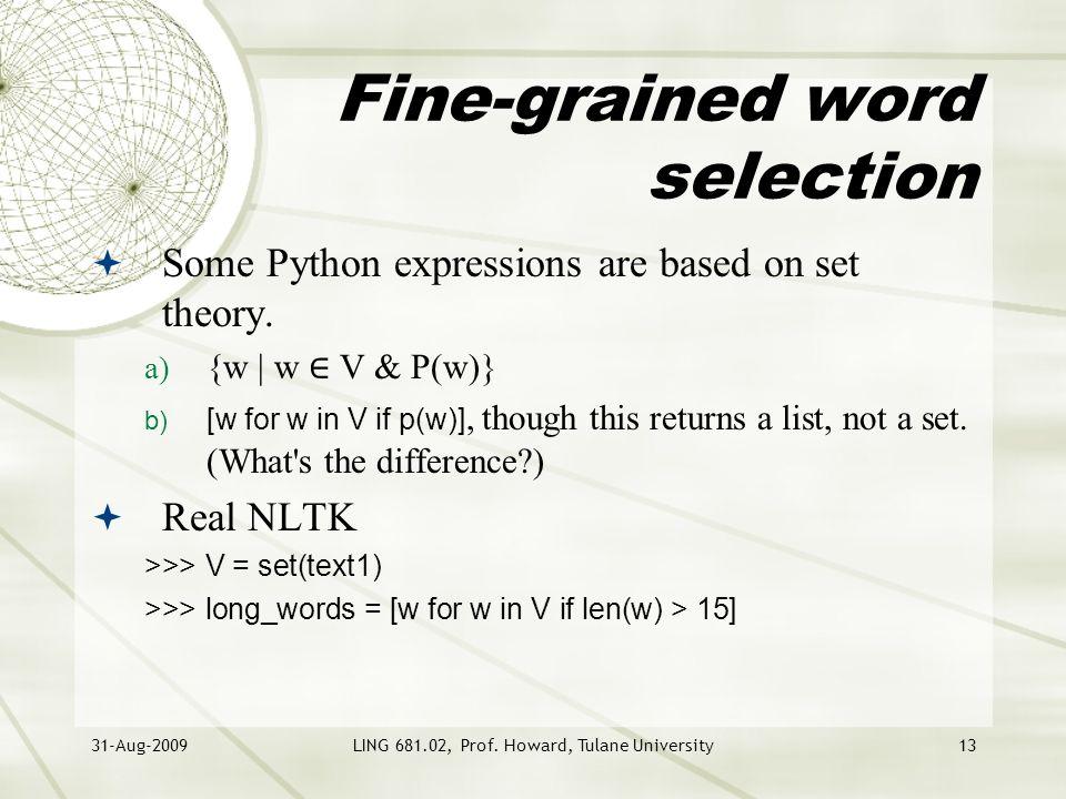 NLTK & Python Day 5 LING Computational Linguistics Harry Howard
