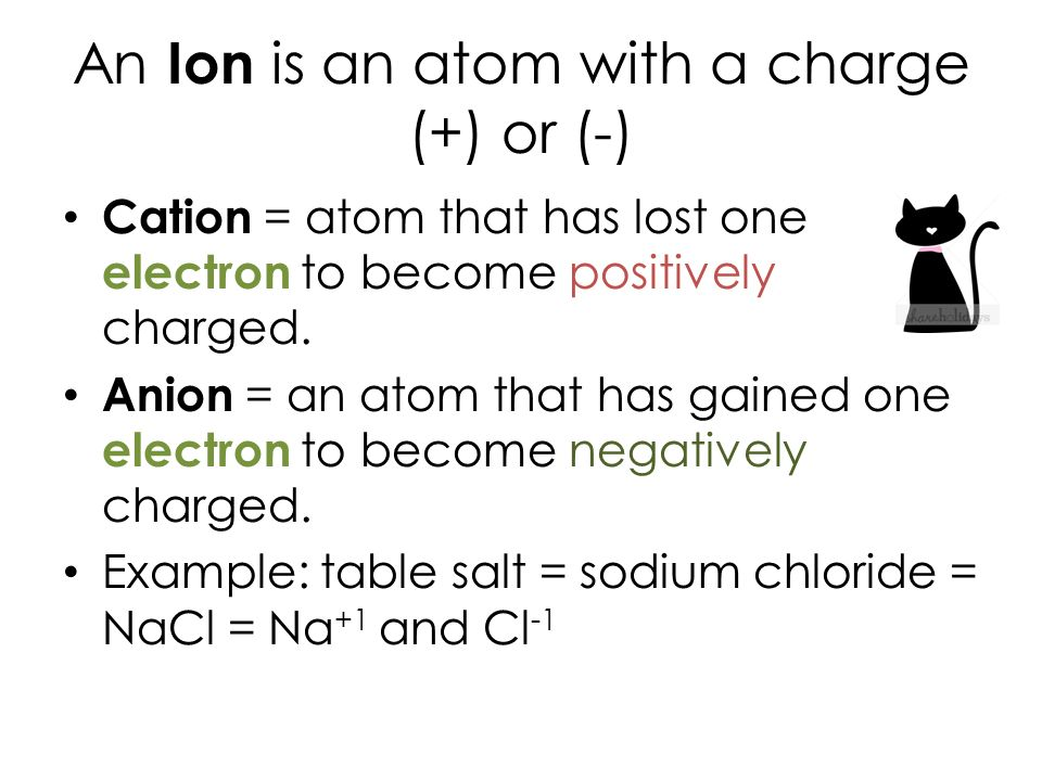 An Ion is an atom with a charge (+) or (-) Cation = atom that has lost one electron to become positively charged.