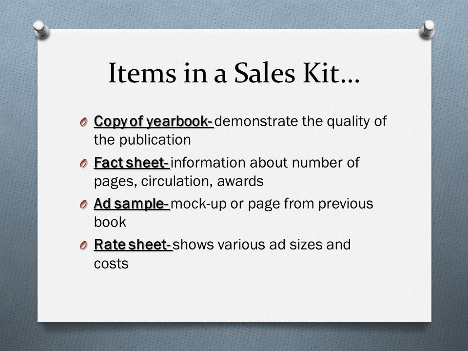 Advertising Module 23-Review For Test. Items In A Sales Kit… O