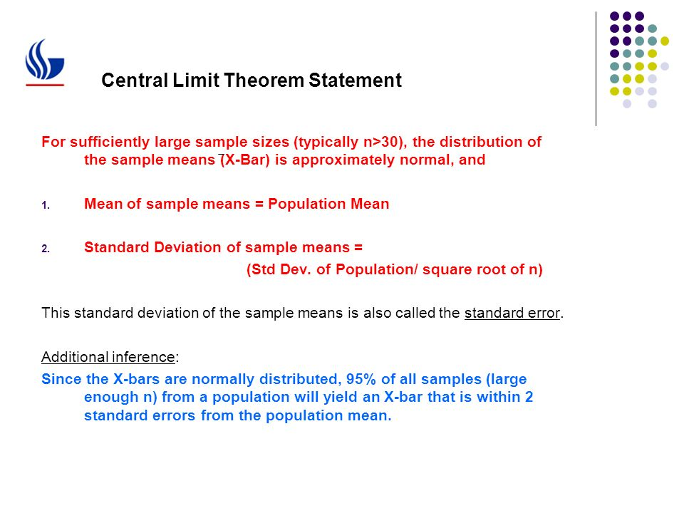 LSSG Black Belt Training Estimation: Central Limit Theorem and ...