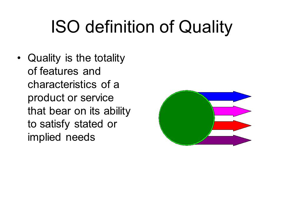 ISO definition of Quality Quality is the totality of features and characteristics of a product or service that bear on its ability to satisfy stated or implied needs