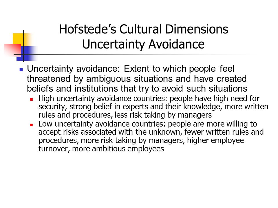 Hofstede's Cultural Dimensions Uncertainty Avoidance Uncertainty avoidance: Extent to which people feel threatened by ambiguous situations and have cr