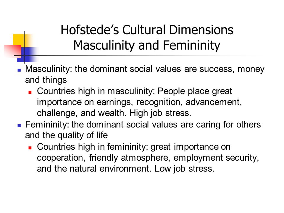 Hofstede's Cultural Dimensions Masculinity and Femininity Masculinity: the dominant social values are success, money and things Countries high in masc