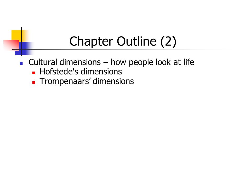 Cultural dimensions – how people look at life Hofstede's dimensions Trompenaars' dimensions Chapter Outline (2)