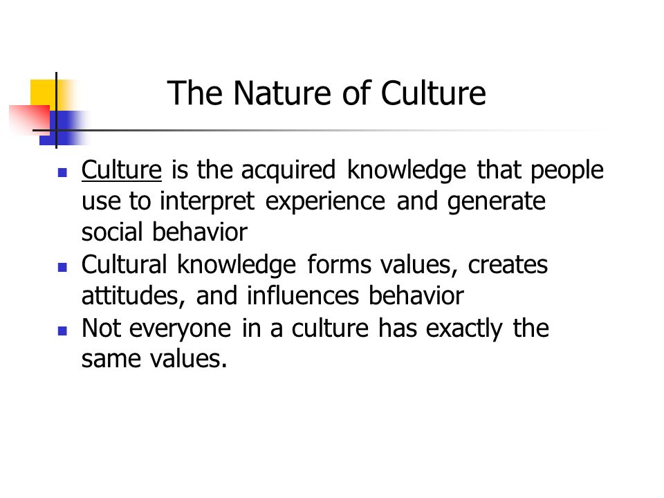The Nature of Culture Culture is the acquired knowledge that people use to interpret experience and generate social behavior Cultural knowledge forms