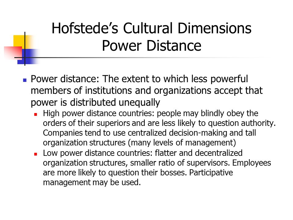 Hofstede's Cultural Dimensions Power Distance Power distance: The extent to which less powerful members of institutions and organizations accept that