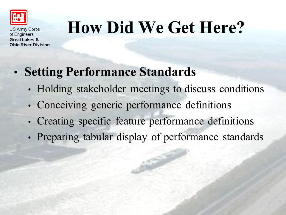 US Army Corps of Engineers Great Lakes & Ohio River Division Setting Performance Standards Holding stakeholder meetings to discuss conditions Conceiving generic performance definitions Creating specific feature performance definitions Preparing tabular display of performance standards How Did We Get Here.