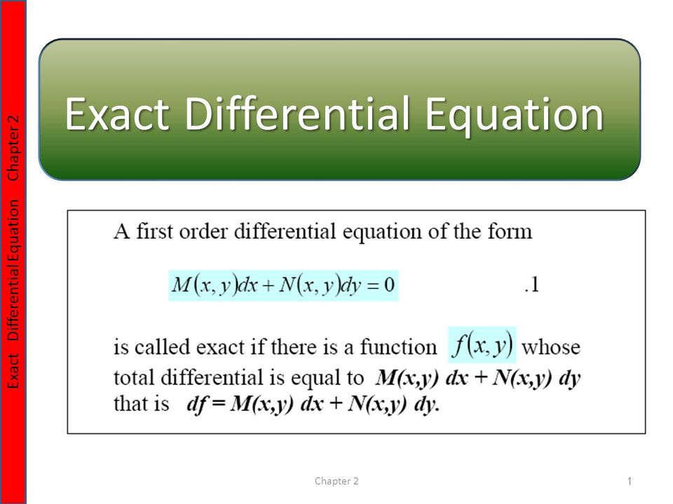 Chapter 21 Exact Differential Equation Chapter 2 Exact ...