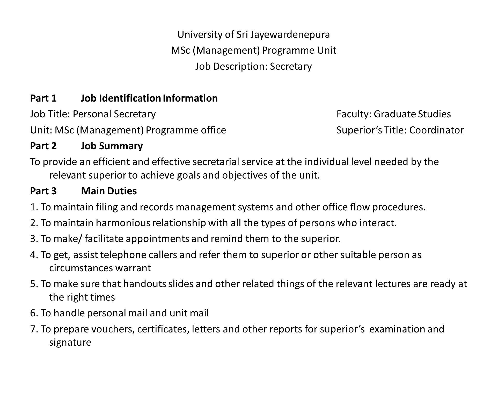 Attractive Records Management Coordinator Job Description ...