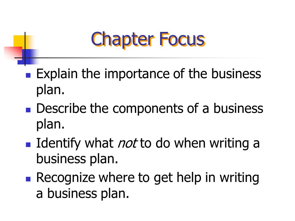Chapter Four The Business Plan Chapter Focus Explain the ...