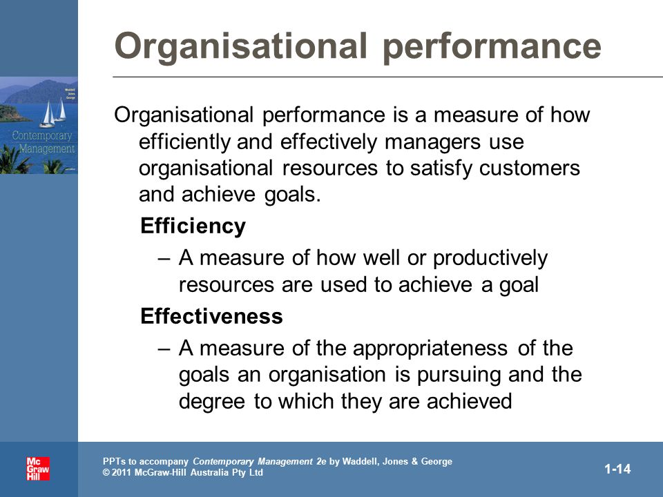 PPTs to accompany Contemporary Management 2e by Waddell, Jones & George © 2011 McGraw-Hill Australia Pty Ltd 1-14 Organisational performance Organisational performance is a measure of how efficiently and effectively managers use organisational resources to satisfy customers and achieve goals.