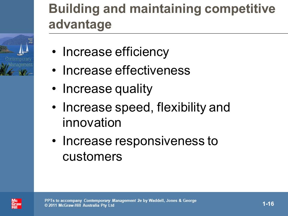 . PPTs to accompany Contemporary Management 2e by Waddell, Jones & George © 2011 McGraw-Hill Australia Pty Ltd 1-16 Building and maintaining competitive advantage Increase efficiency Increase effectiveness Increase quality Increase speed, flexibility and innovation Increase responsiveness to customers