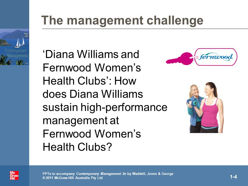 . PPTs to accompany Contemporary Management 2e by Waddell, Jones & George © 2011 McGraw-Hill Australia Pty Ltd 1-4 The management challenge 'Diana Williams and Fernwood Women's Health Clubs': How does Diana Williams sustain high-performance management at Fernwood Women's Health Clubs