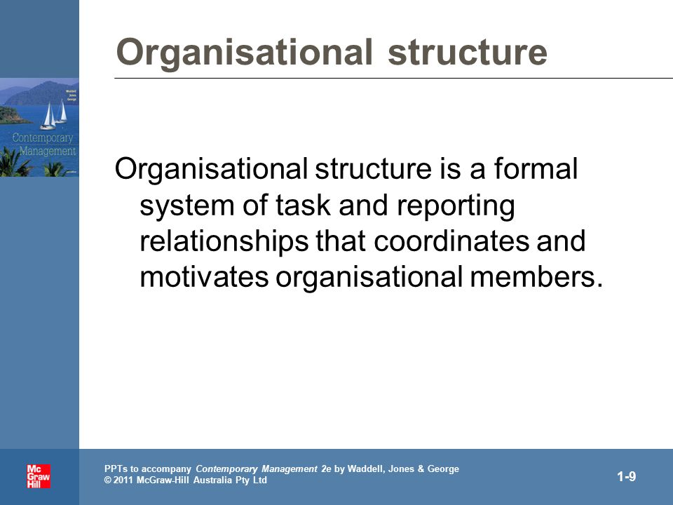 . PPTs to accompany Contemporary Management 2e by Waddell, Jones & George © 2011 McGraw-Hill Australia Pty Ltd 1-9 Organisational structure Organisational structure is a formal system of task and reporting relationships that coordinates and motivates organisational members.