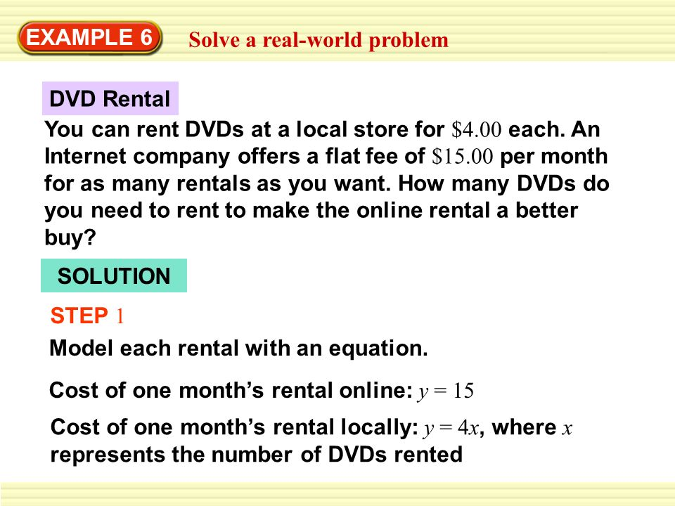 EXAMPLE 6 Solve a real-world problem SOLUTION STEP 1 Model each ...