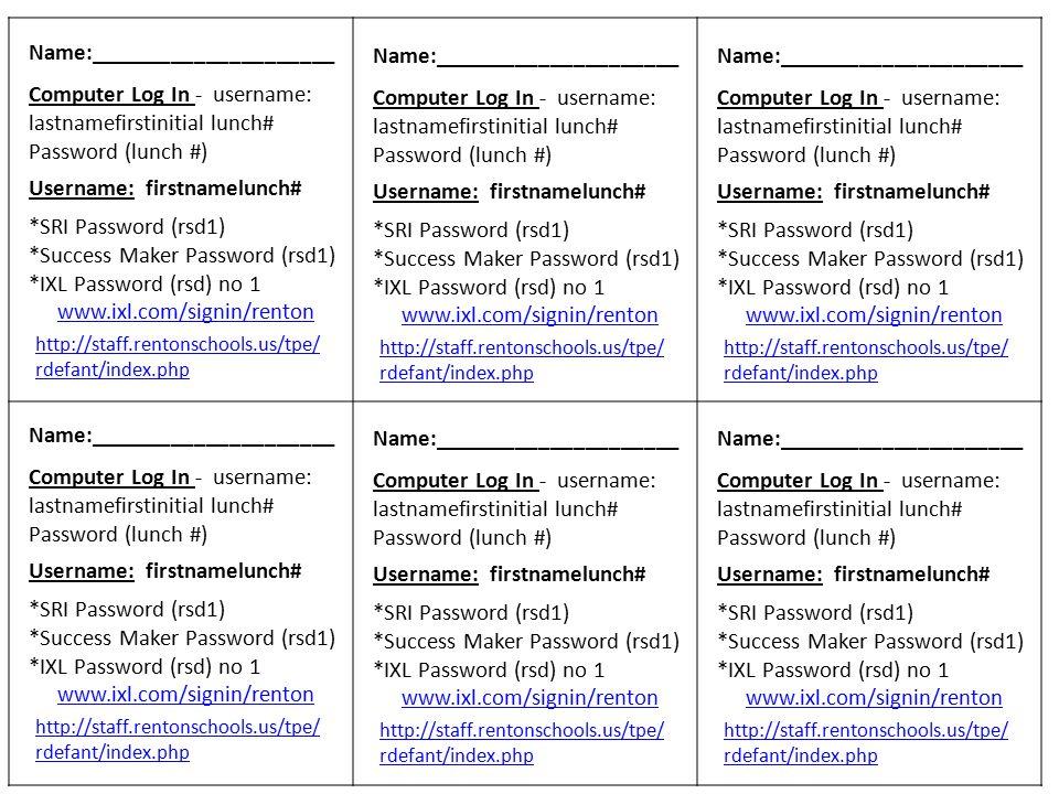 rdefant/index.php Name: Computer Log In - username ...