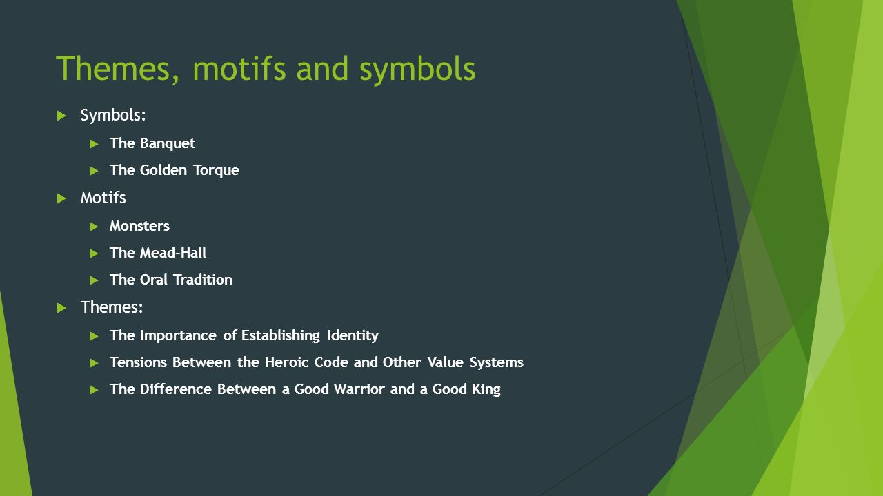 themes motives and symbols in the Themes, motifs, and symbols in dickens' a tale of two cities let us try to understand the difference between theme, motif, and symbol by analyzing a literary work.