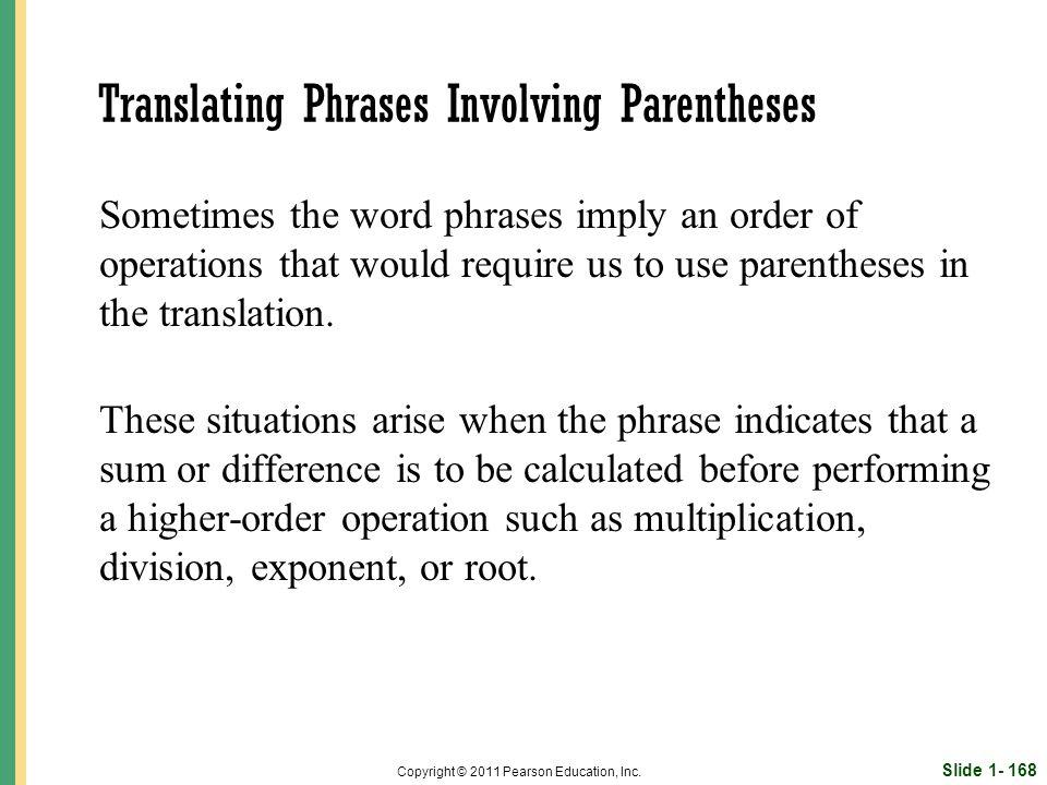 Slide 1- 168 Copyright © 2011 Pearson Education, Inc.