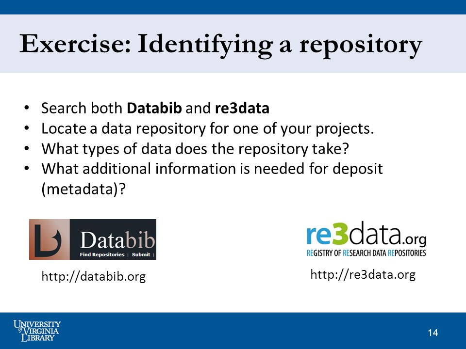 14 Exercise: Identifying a repository Search both Databib and re3data Locate a data repository for one of your projects.