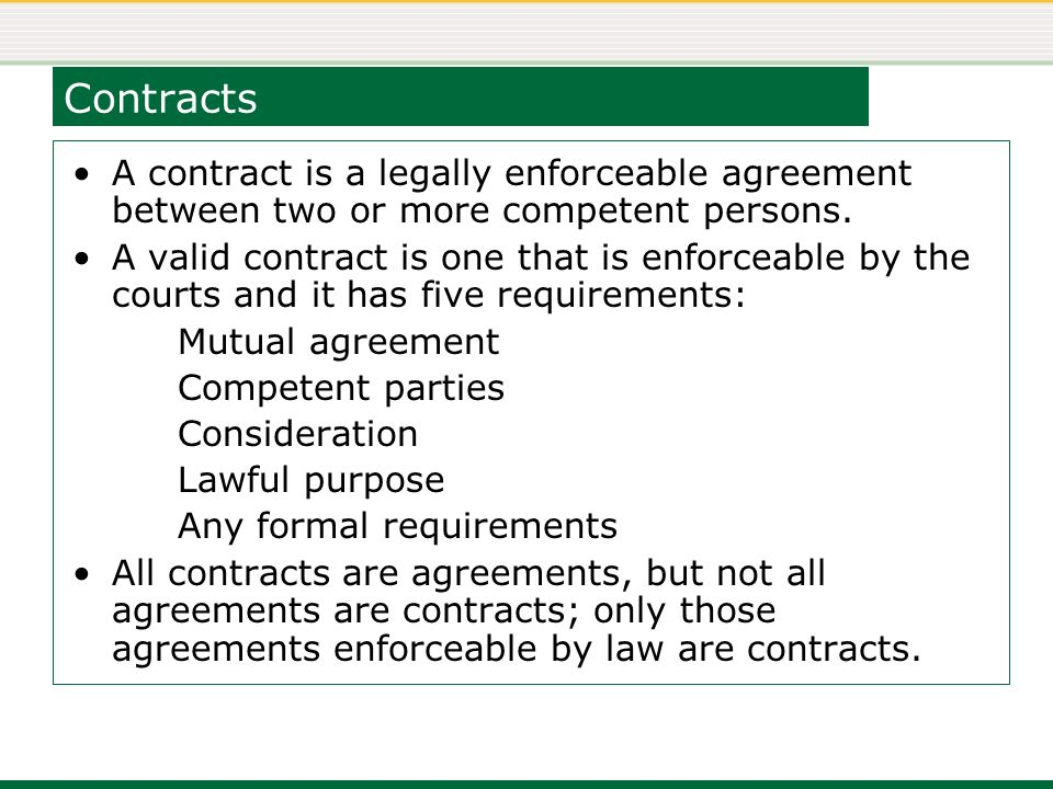 2 Contracts ...  Mutual Agreement Contract
