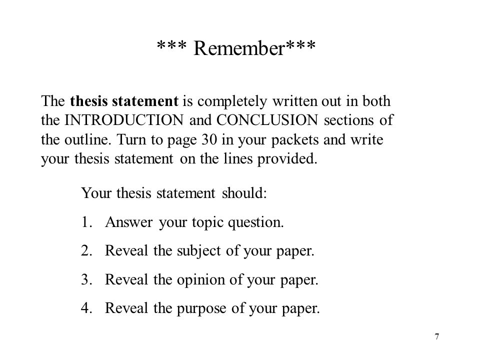 how do you write a conculison for a thesis papaer