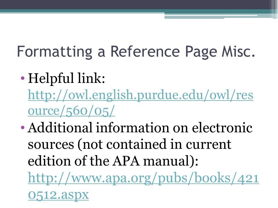 Apa owl reference list