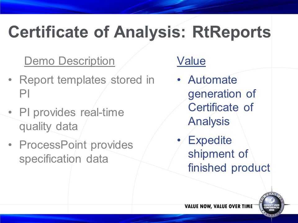 Site specification management using the rtpm platform ray hall 44 certificate of analysis rtreports demo description report templates stored in pi pi provides real time quality data processpoint provides specification yadclub Choice Image