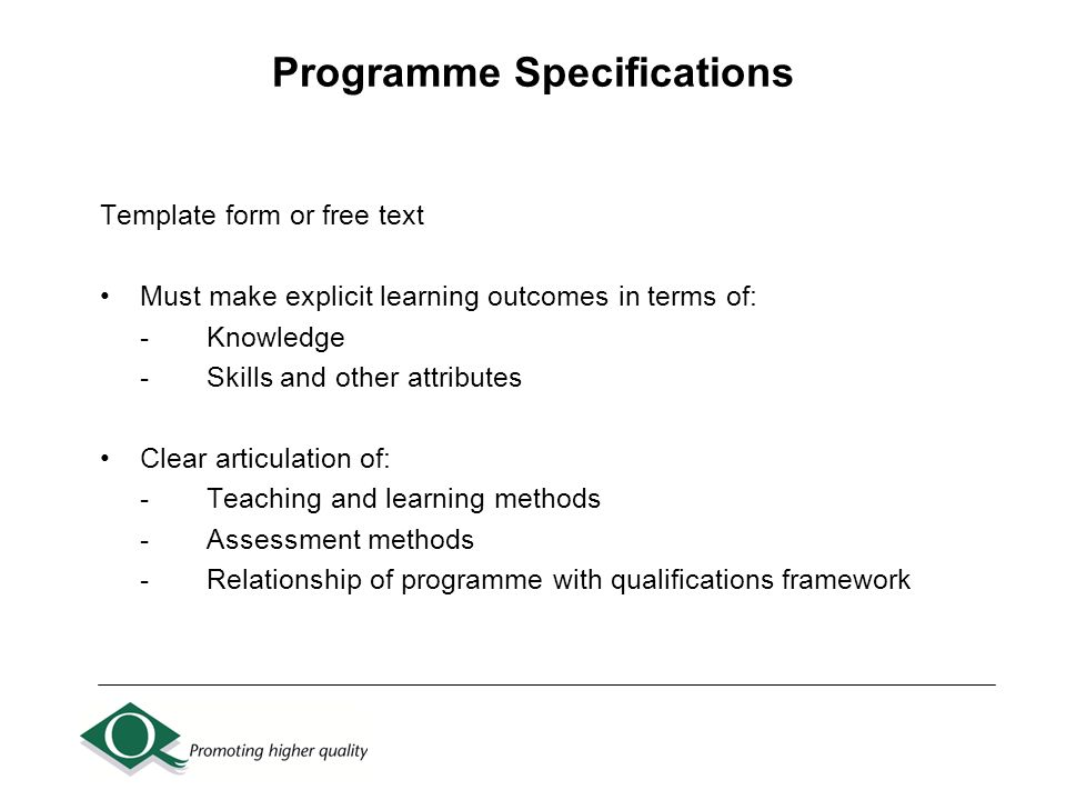 Self Evaluation Document And Programme Specifications (Sed