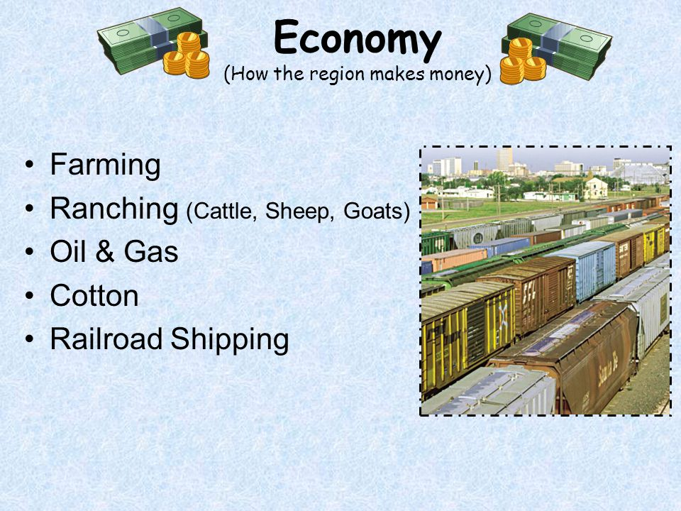 Farming Ranching (Cattle, Sheep, Goats) Oil & Gas Cotton Railroad Shipping Economy (How the region makes money)
