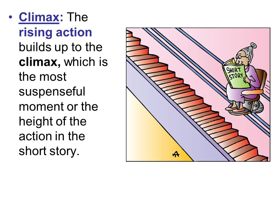 Climax: The rising action builds up to the climax, which is the most suspenseful moment or the height of the action in the short story.
