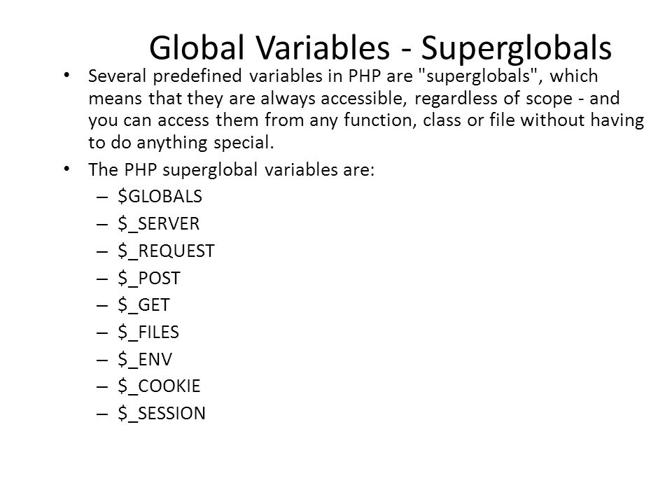 global variables What is a global variable a global variable is simply a means to have data that is accessible by multiple programs running in parallel in the current ranger data acquisition program global variables are used for things such as data values, data names, parameter values, and the things that need to.
