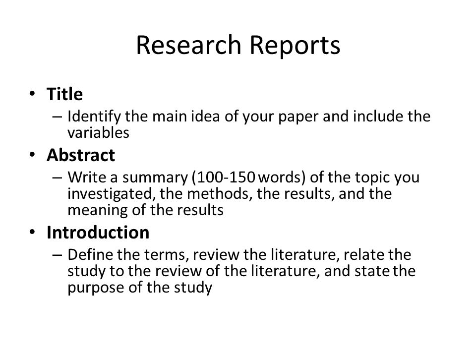 how to format an abstract for a research paper