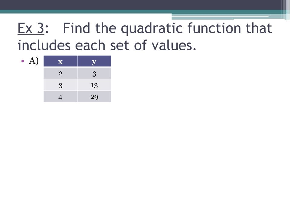 5-1 Modeling Data With Quadratic Functions Big Idea: -Graph ...
