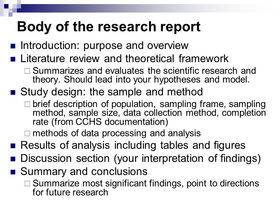 Scientific research report