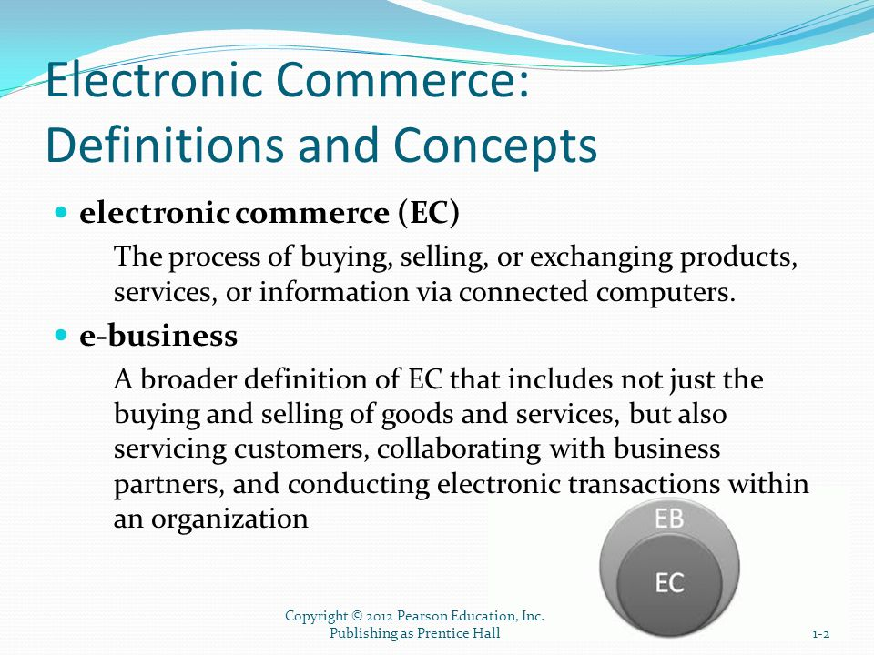 The Electronic Commerce Field: Classification, Content, and a Brief History CLASSIFICATION OF EC BY THE NATURE OF THE TRANSACTIONS AND THE RELATIONSHIPS AMONG PARTICIPANTS business-to-business (B2B) E-commerce model in which all of the participants are businesses or other organizations business-to-consumer (B2C) E-commerce model in which businesses sell to individual shoppers e-tailing Online retailing, usually B2C 1-13 Copyright © 2012 Pearson Education, Inc.
