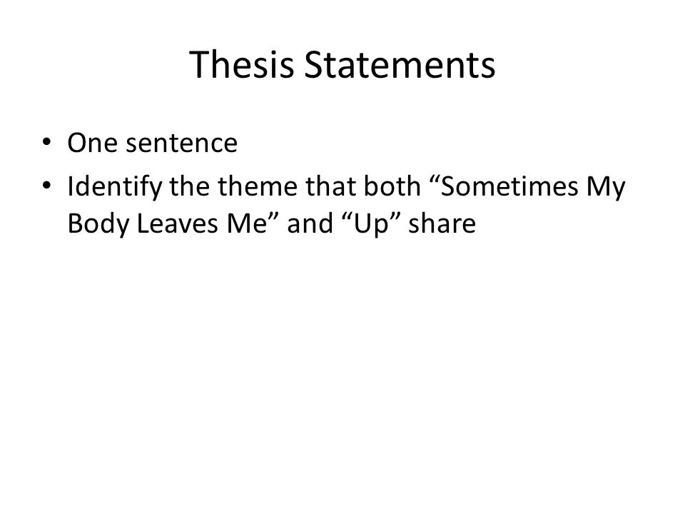 ENG3U Comparison Essay. 2 Thesis Statements ...