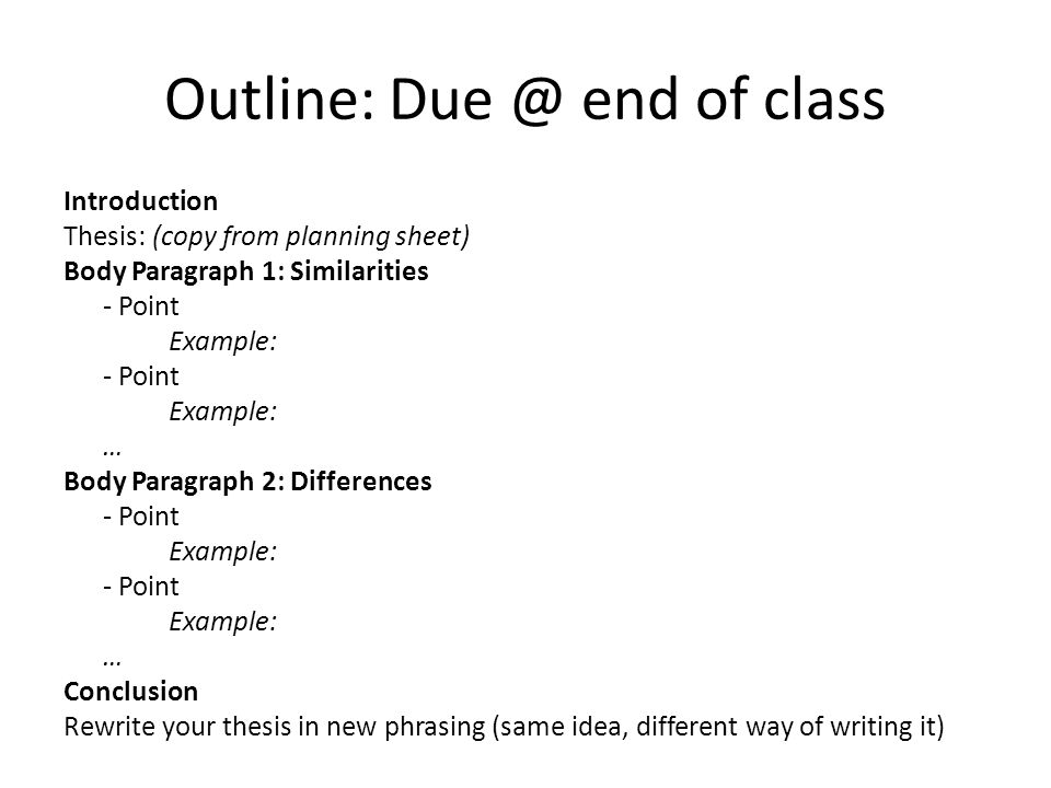 outline and paragraph writing examples Writing a compare/contrast essay body paragraph 1 topic sentence - aspect 1 5 for examples on topics, aspects, and details).