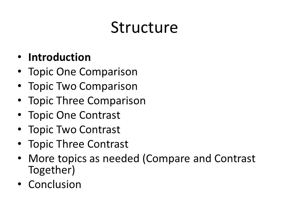how to write a compare contrast paper overview a comparison or 3 structure introduction topic one comparison topic two comparison topic three comparison topic one contrast topic two contrast topic three contrast more