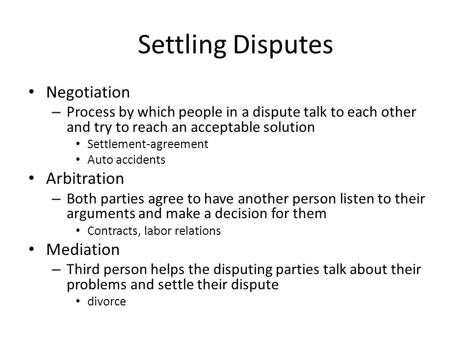 Settling disputes negotiation process by which people in a dispute 1 settling disputes negotiation platinumwayz