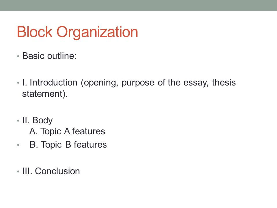block outline for a compare and contrast essay