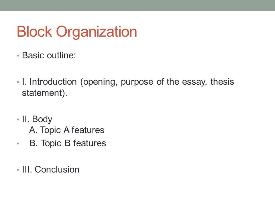 block organization of essay
