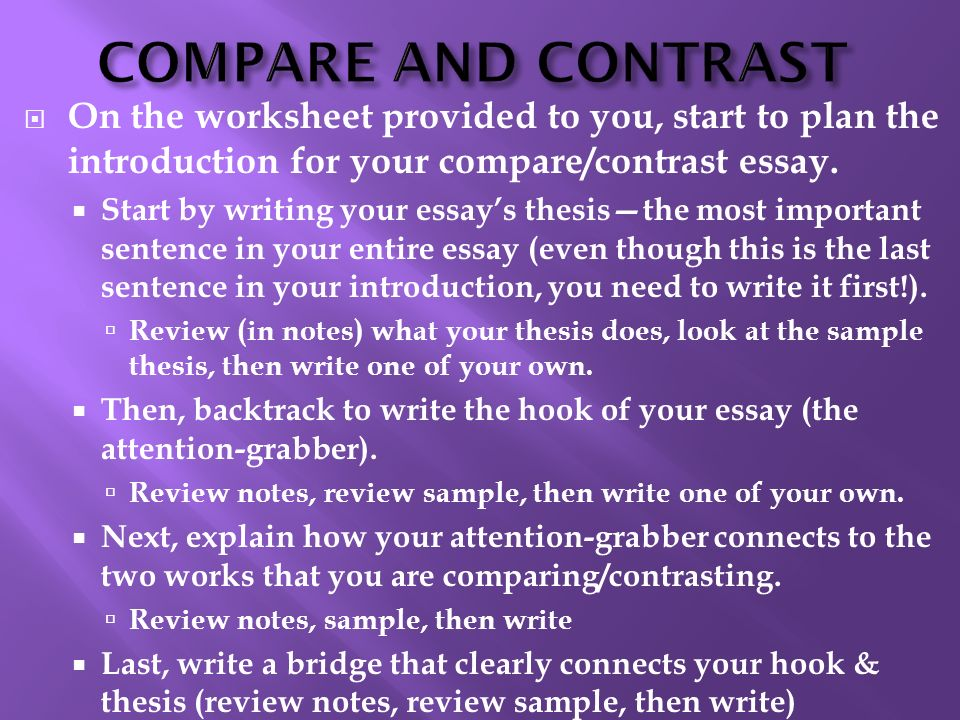 How Write A Compare And Contrast Essay