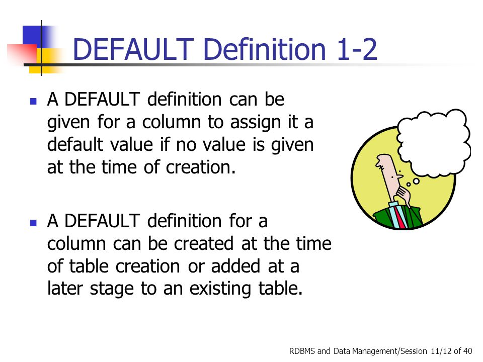 RDBMS And Data Management/Session 11/12 Of 40 DEFAULT Definition 1 2