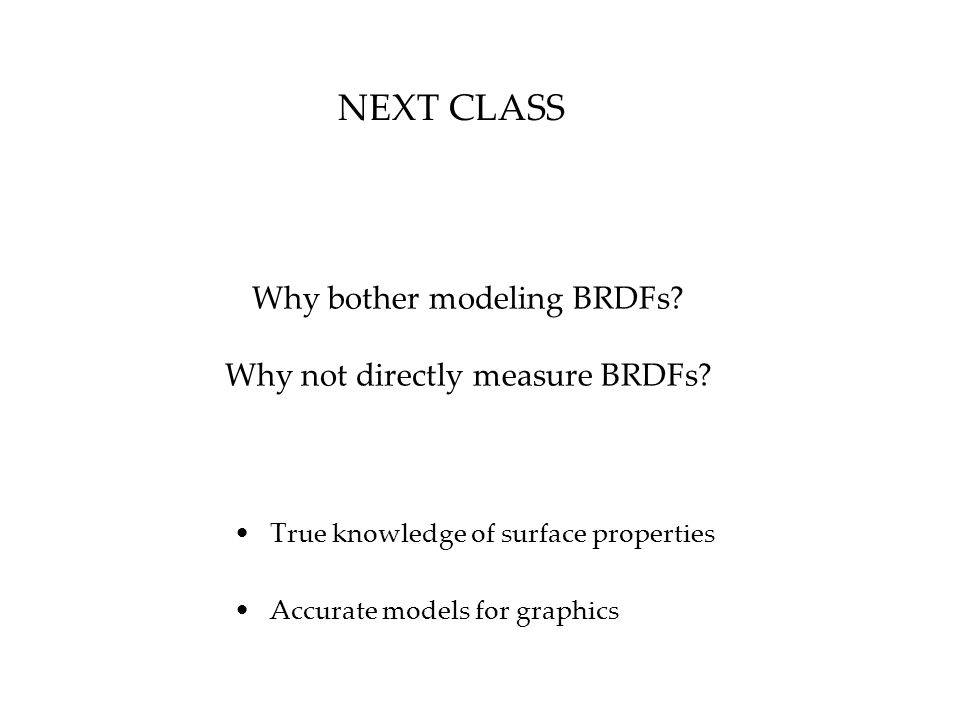 Why bother modeling BRDFs.Why not directly measure BRDFs.