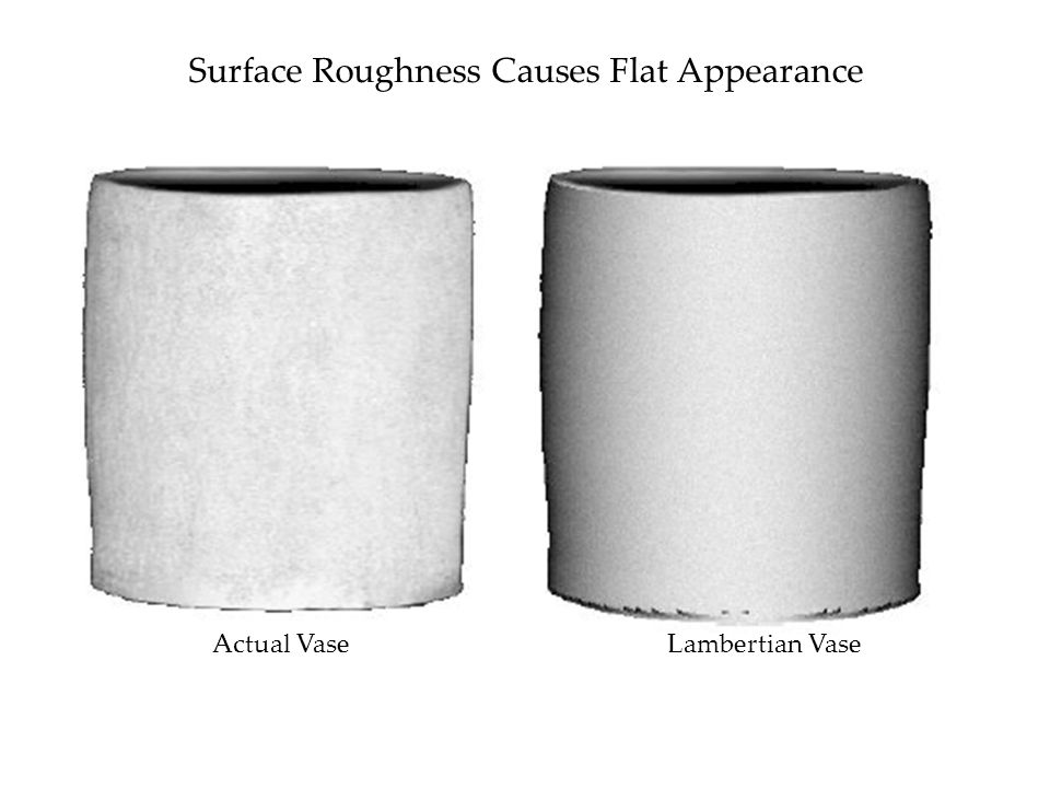 Surface Roughness Causes Flat Appearance Actual VaseLambertian Vase