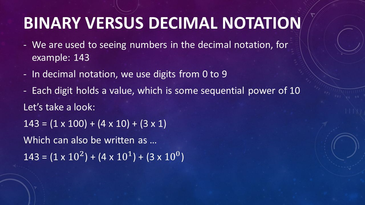 BINARY VERSUS DECIMAL NOTATION