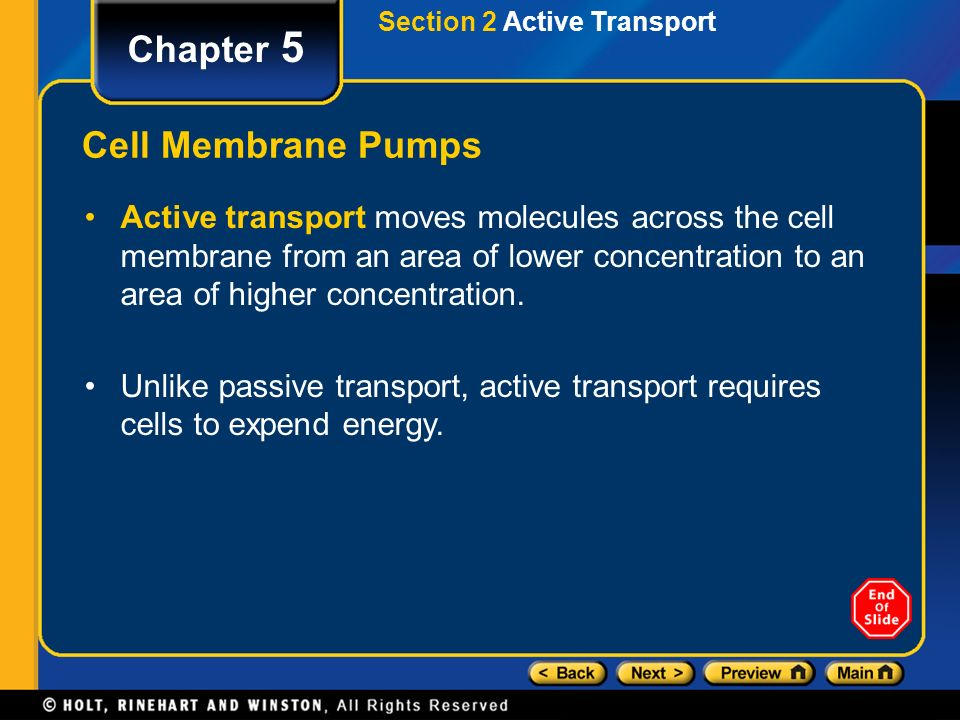 Section 2 Active Transport Chapter 5 Active transport moves molecules across the cell membrane from an area of lower concentration to an area of higher concentration.